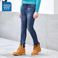 真维斯男装 冬装 弹性12安磨毛底牛仔裤
