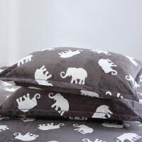 春秋季珊瑚绒 枕套 法莱绒枕芯套 加厚保暖枕头套单人枕套 红色