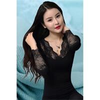 无缝美体塑身保暖内衣女薄款紧身性感蕾丝秋衣秋裤套装黑红