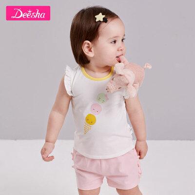 【2件5折价:49】笛莎童装女童短袖T恤2019夏装新款婴儿衣服儿童时尚皇冠印花T恤女