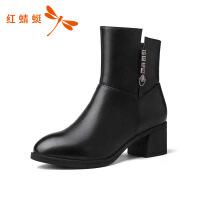 红蜻蜓女鞋冬季新款正品粗高跟尖头女靴子中筒靴棉靴女