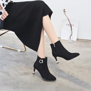 ZHR2018秋冬季新款高跟短靴细跟单靴欧美风女靴百搭尖头复古靴子