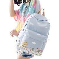 学院风小清新帆布双肩包 女高中学生书包 旅行背包 校园女包