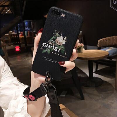 文艺花iPhone6splus手机壳8X苹果7p硅胶软套挂绳潮女款新薄荔枝纹