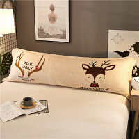 加厚法莱绒双人长枕套枕头套冬季珊瑚绒卡通情侣1.5米加长枕芯套