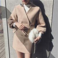 秋冬新款复古时尚套装女毛呢开衫灯笼袖外套+高腰半身短裙两件套 驼色