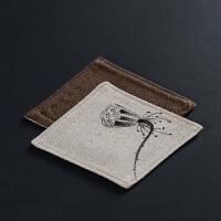 方形双层手绘棉麻杯垫布艺隔热茶杯托茶壶垫中式茶垫功夫茶具配件
