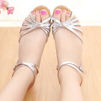 儿童拉丁舞鞋女孩舞蹈鞋中跟软底跳舞鞋女童恰恰少儿银色夏季凉鞋