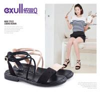 依思q夏季新款时尚绒面一字带女鞋舒适低跟粗跟凉鞋