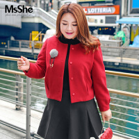 MsShe胖妹妹大码女装2017新款200斤胖mm冬装毛呢外套短款M1740377