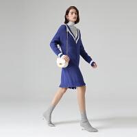 初语连衣裙女春季新款休闲宽松气质撞色条纹v领毛衣中长裙