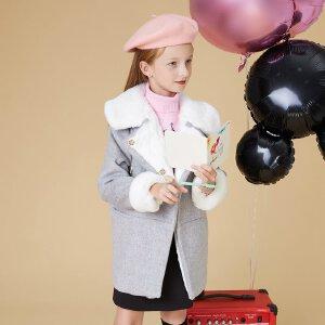 【2件2.5折到手价:86.5】美特斯邦威旗下童装moomoo童装女童斜门襟连帽呢大衣冬季新款中大童呢子外套
