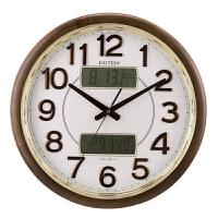 金钟宝实木挂钟客厅日历温湿度计静音夜光时钟中式复古大号石英钟 18英寸