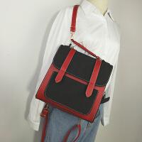 双肩包女韩版潮学院风学生书包时尚百搭撞色定型背包旅行小包包潮