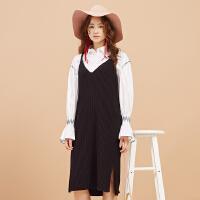 【1件3折到手价:40.77】美特斯邦威吊带裙女秋季新款黑色显瘦韩版宽松针织连衣裙子
