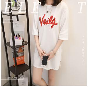 夏季新款韩版时尚气质中长款短袖t恤女修身显瘦学生字母a字连衣裙