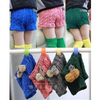 新款春冬童装短裤靴裤女童韩版小毛球针织糖果色毛线短裤