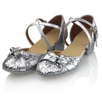 儿童舞蹈鞋少儿拉丁舞鞋女中跟现代舞演出训练鞋广场跳舞鞋软底秋