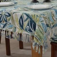 美式乡村桌布布艺棉麻西餐桌椅垫套装流苏圆长方形茶几台布