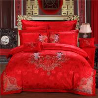 昭辰家纺 全棉贡缎提花 婚庆欧式四件套、六件套 床盖款大红床上用品