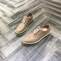 欧洲风格站2018春夏新款圆头坡跟鞋系带牛皮布洛克风女鞋子厚底鞋