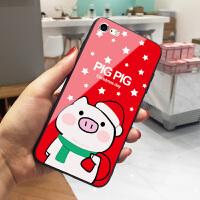 新年小猪pig pig苹果Xs Max手机壳iphoneX日韩新款6splus玻璃套7红色8卡通女8 6/6S 红底圣
