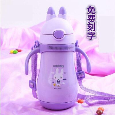 儿童保温杯小孩宝宝吸管水杯子幼儿园男女可爱水壶兔子带手柄ji8 保温时间长