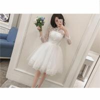 2018新娘结婚订婚短款小婚纱旅行摄影礼服 伴娘服公主蓬蓬裙白色 白色
