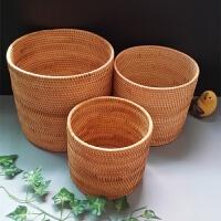 越南秋藤编面包篮杂物收纳筐桶盒茶几置物手工水果零食垃圾筒