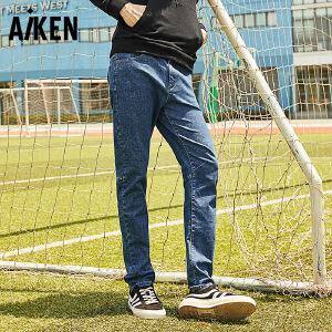 森马旗下Aiken弹力修身牛仔裤2017秋季新款男士直筒长裤学生青年小脚裤潮