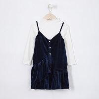 【1件4折到手价:124】米喜迪mecity童装秋新款女童丝绒吊带两件式针织连衣裙