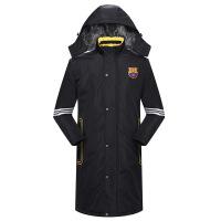巴萨队足球外套加绒加厚冬训大衣男运动大衣风衣棉衣