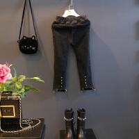 牛仔裤冬装新款女宝铅笔裤百搭显瘦牛仔裙中小童加绒长裤A8-T33