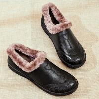 妈妈鞋单鞋防滑中老年女鞋舒适软底加绒奶奶鞋老年老鞋女秋冬