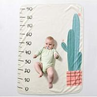 新生儿盖毯法兰绒毛毯婴儿推车毯空调毯宝宝成长里程记录摄影毯子