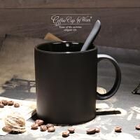 欧式高档陶瓷黑色哑光大容量马克杯子磨砂咖啡杯带勺水杯创意简约