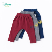 迪士尼Disney童装 男童裤子秋季新品可开档休闲哈伦裤宝宝字母印花休闲时尚长裤183K805