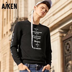 Aiken毛衣男2017秋季新款圆领套头衫男士潮人街头潮流线衫针织衫