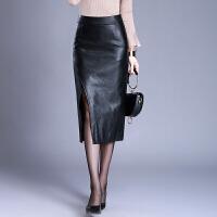 中长款皮裙半身裙女秋冬新款高腰显瘦包臀裙pu皮长裙子叉裙一步裙