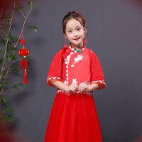 儿童旗袍女童礼服公主裙新款长袖花童礼服改良旗袍走秀潮服演出服 红色