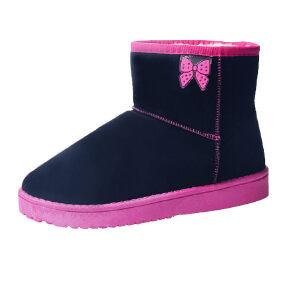 WARORWAR新品YM29-6601-2冬季甜美磨砂反绒平底舒适女士雪地靴