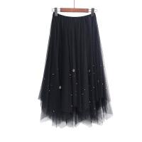 裙子冬女网纱裙半身裙中长款不规则高腰a字裙a型2018新款春装 黑色 均码