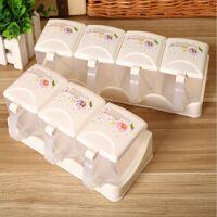 827四组透明厨房调味盒 三格四格塑料调料盒套装 调料罐/瓶带勺子