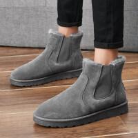 雪地靴男士冬季加绒加厚短筒防滑保暖棉鞋真皮男鞋短靴子防水棉靴