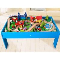 大型木质小火车轨道套装3-5-7岁男孩积木儿童玩具生日礼物