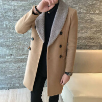 №【2019新款】冬天小个子穿的小码男装矮个子S码新款修身大毛领毛呢大衣中长款呢子风衣潮