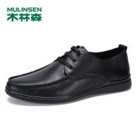 木林森男鞋2019春夏新款商务休闲鞋低帮真皮豆豆鞋SS97102