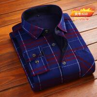 新款冬季男士保暖衬衫加绒加厚中年格子长袖衬衣中老年爸爸装男装