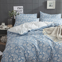 床上四件套全棉纯棉1.8m床双人被子床单被罩200x230北欧花卉风格