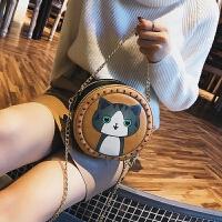 包包女新款潮韩版时尚百搭链条包小猫图案简约单肩斜挎包